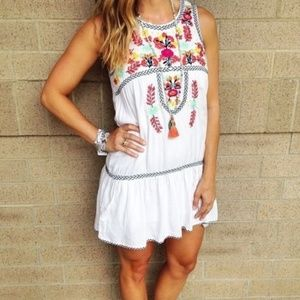 Lovers + Friends White Embroidered Mini Dress
